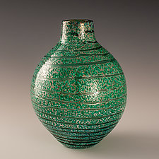 Small Striped Vase in Green by Richard S. Jones (Art Glass Vase)