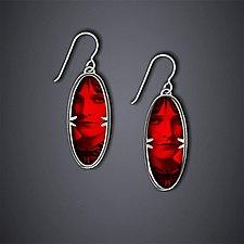 Red Gothic Earrings by Dawn Estrin (Silver Earrings)