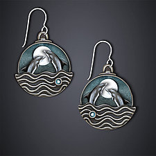 Dancing Dolphins Earrings by Dawn Estrin (Silver Earrings)