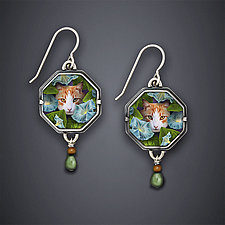 Morning Glory Earrings by Dawn Estrin (Silver & Stone Earrings)