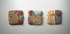 Telluric Triptych by Christopher Gryder (Ceramic Wall Sculpture)
