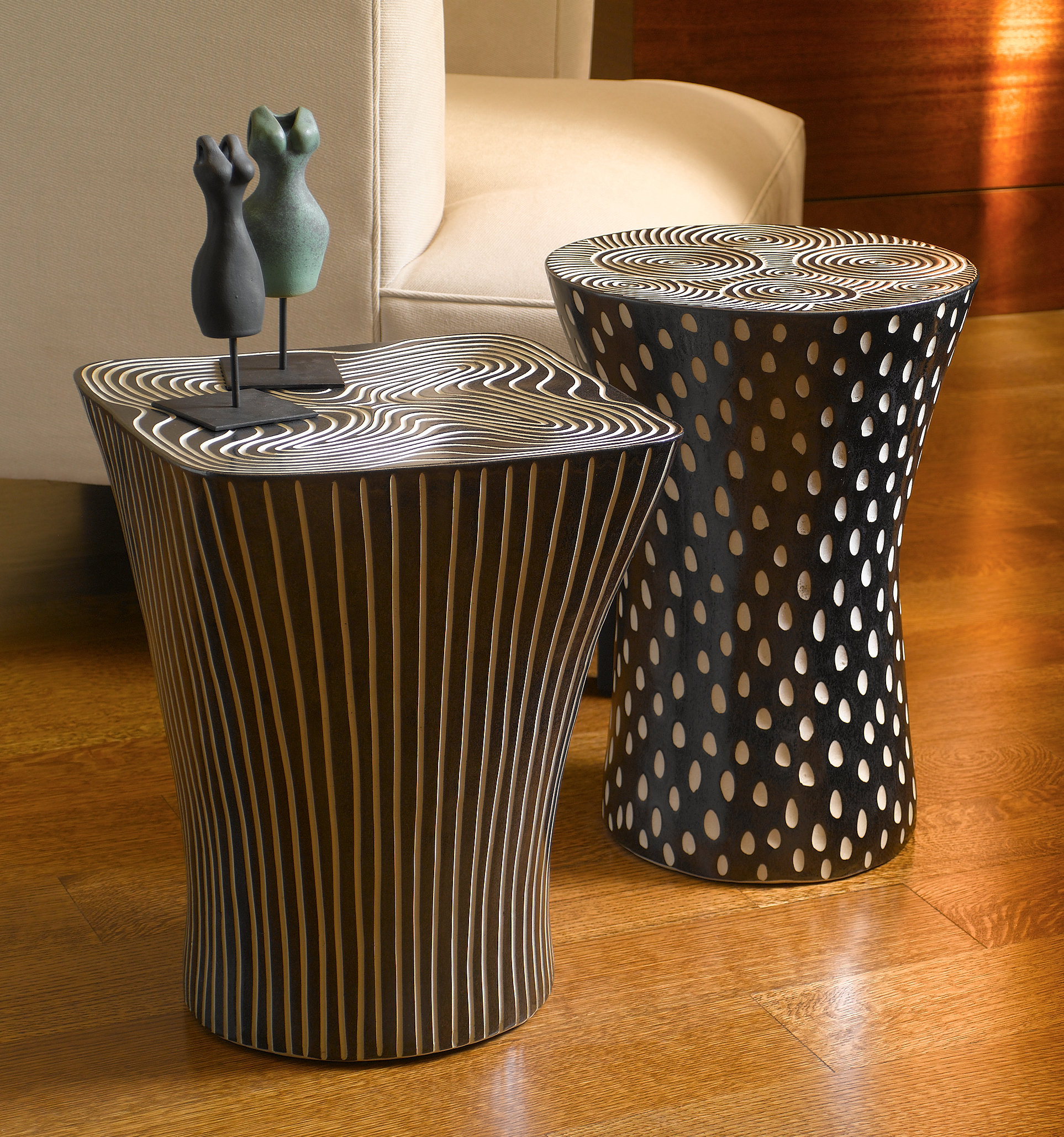 Black And White Tables By Larry Halvorsen Ceramic End Artful Home