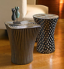 Black and White Tables by Larry Halvorsen (Ceramic End Tables)