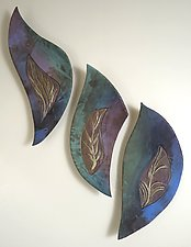 Dancing Leaf by Jan Jacque (Ceramic Wall Sculpture)
