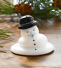Melting Burl Ives Snowman by Thomas Kelly (Art Glass Paperweight)
