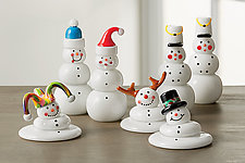 Glass Snowmen by Thomas Kelly (Art Glass Sculpture)