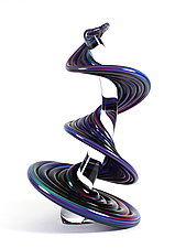Purple Blue Mix Standing Heechee Probe with Clear Spine by Thomas Kelly (Art Glass Sculpture)