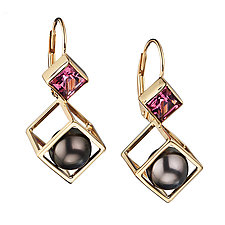 Unique Cage Cubed Earring by Patricia Madeja (Gold, Pearl & Stone Earrings)