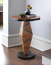 Burl Octagon Table by Ingela Noren and Daniel  Grant (Wood Side Table)