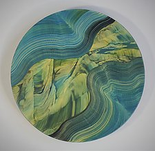 Blue Green Lazy Susan by Ingela Noren and Daniel  Grant (Wood Serving Piece)