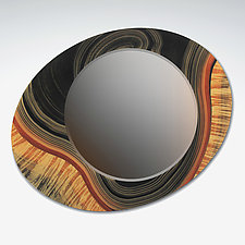 Asymmetric River Tiger Mirror by Ingela Noren and Daniel  Grant (Wood Mirror)