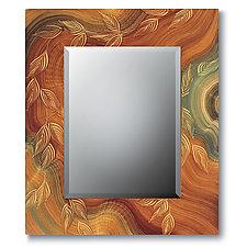 Burl Vine Painted Mirror by Ingela Noren and Daniel  Grant (Wood Mirror)