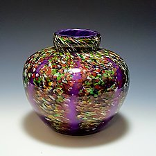 Purple Wisteria Round by Mark Rosenbaum (Art Glass Vase)