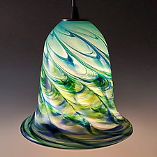 Optic Trumpet Pendant by Mark Rosenbaum (Art Glass Pendant Lamp)