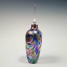 Li'l Flame Iridescent Perfume Bottle by Mark Rosenbaum (Art Glass Perfume Bottle)