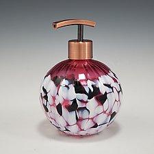 Round Soap Dispenser by Mark Rosenbaum (Art Glass Bottle)