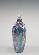 Li'l Flame Iridescent Perfume Bottle by Mark Rosenbaum (Art Glass Perfume Bottle)