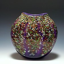 Purple Wisteria Disk by Mark Rosenbaum (Art Glass Vase)