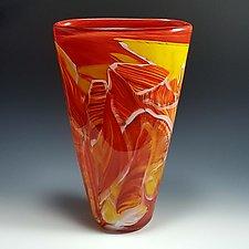 Petite Flat Cone Transformation by Mark Rosenbaum (Art Glass Vase)