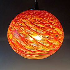 Clear Optic Globe Pendant by Mark Rosenbaum (Art Glass Pendant Lamp)