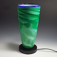 Dreamscape Uplight in Green by Mark Rosenbaum (Art Glass Table Lamp)