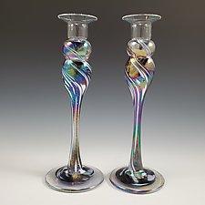 Candlestick Pairs by Mark Rosenbaum (Art Glass Candleholder)