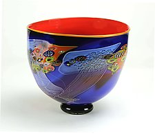 Colorfield Bowl in Marine Blue and Ferrari Red by Wes Hunting (Art Glass Bowl)