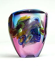 Color Tint Optical in Ruby and Marine Blue by Wes Hunting (Art Glass Sculpture)
