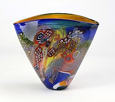 Citrus Wave Color Field Vessel by Wes Hunting (Art Glass Vessel)
