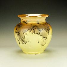 Bright Yellow Squat Horsehair Raku Pottery by Lance Timco (Ceramic Vessel)