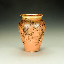 Orange Horsehair Raku Jar by Lance Timco (Ceramic Vessel)