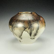 Horsehair Raku Pottery XXIII by Lance Timco (Ceramic Vessel)