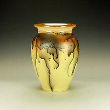 Bright Yellow Horsehair Raku Pottery with Glazed Lip by Lance Timco (Ceramic Vessel)