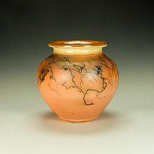Squat Orange Horsehair Raku Jar by Lance Timco (Ceramic Vessel)