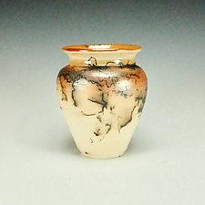 Horsehair Raku Pottery XXII by Lance Timco (Ceramic Vessel)