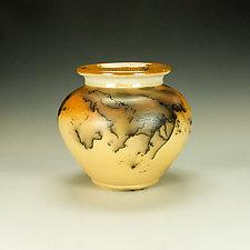 Squat Mustard Yellow and Orange Horsehair Raku Jar by Lance Timco (Ceramic Vessel)