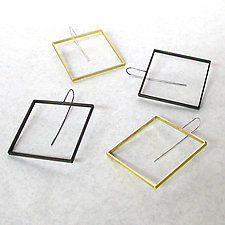 Big Square Slice Earrings by Emanuela Aureli (Brass Earrings)