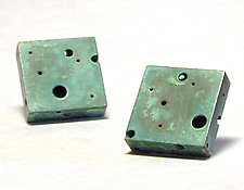 Green Square Swiss Cheese Earrings by Emanuela Aureli (Copper Earrings)
