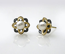 Moiré Flower Pearl Studs by Keiko Mita (Gold, Silver & Stone Earrings)