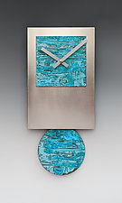 Steel Tie Pendulum Clock with Verdigris Copper by Leonie  Lacouette (Metal Clock)