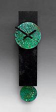 Narrow Black Pendulum Clock with Verdigris Copper by Leonie  Lacouette (Wood & Metal Clock)