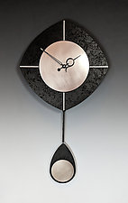 Black & Silver L-Drop Pendulum Clock by Leonie  Lacouette (Wood Clock)