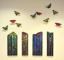 Butterfly Celebration Wall Sculpture by Mark Ditzler (Art Glass Wall Sculpture)