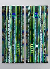 Forest Green Wall Panel Set by Mark Ditzler (Art Glass Wall Sculpture)
