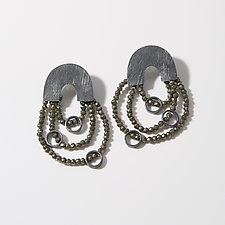 Carved Arch Three Strand Earrings by Heather Guidero (Silver & Stone Earrings)