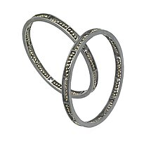 Carved Segment Bangle Bracelet by Heather Guidero (Silver & Stone Bracelet)
