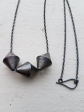 Triple Carved Bicones Necklace by Heather Guidero (Silver Necklace)