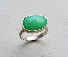 Rosecut Chrysoprase Ring- Size 7.25 by Heather Guidero (Silver & Stone Ring)