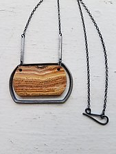 Carved Oblong Frame Necklace by Heather Guidero (Silver & Stone Necklace)