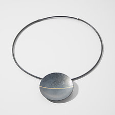 Carved Horizontal Stripe Necklace by Heather Guidero (Gold & Silver Necklace)